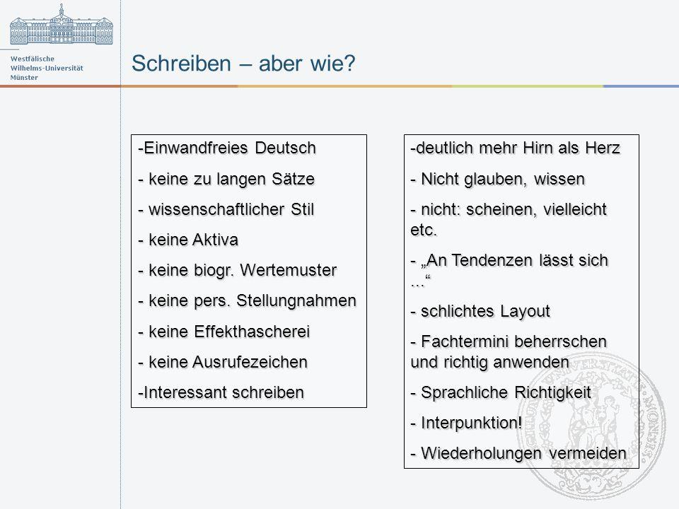 Schreiben – aber wie Einwandfreies Deutsch keine zu langen Sätze
