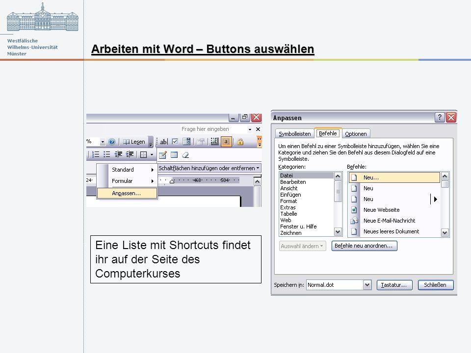Arbeiten mit Word – Buttons auswählen