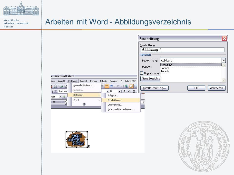 Arbeiten mit Word - Abbildungsverzeichnis