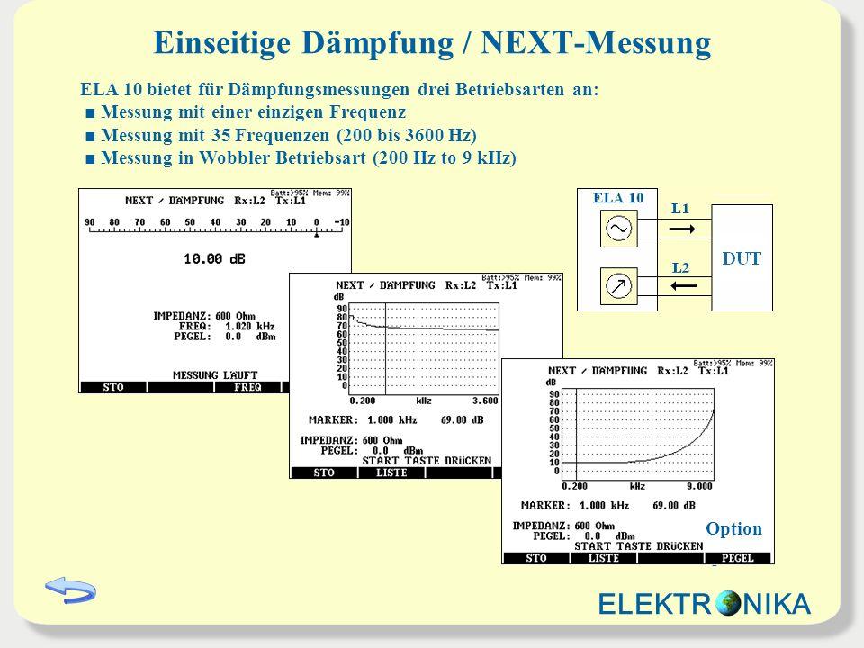 Einseitige Dämpfung / NEXT-Messung