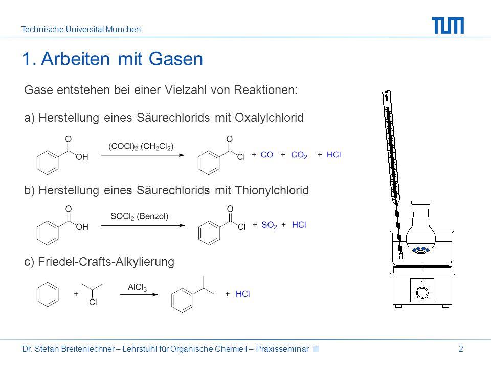 1. Arbeiten mit Gasen Gase entstehen bei einer Vielzahl von Reaktionen: a) Herstellung eines Säurechlorids mit Oxalylchlorid.