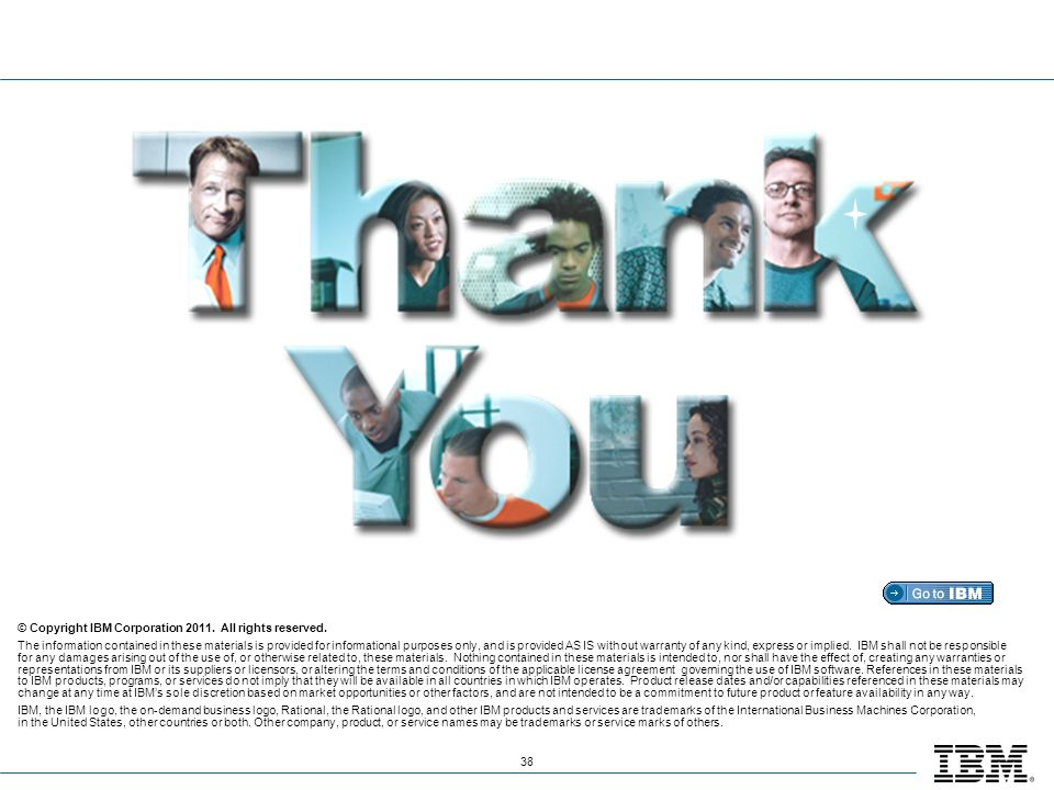 Thank you! © Copyright IBM Corporation 2011. All rights reserved.