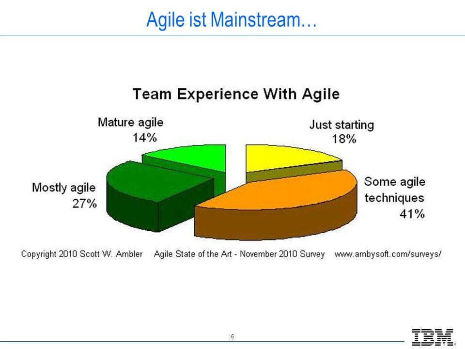 Agile ist Mainstream… Marktanalysen haben ergeben dass sich ca. ¾ aller Projekte schon mit agilen Methoden beschäftigt haben.
