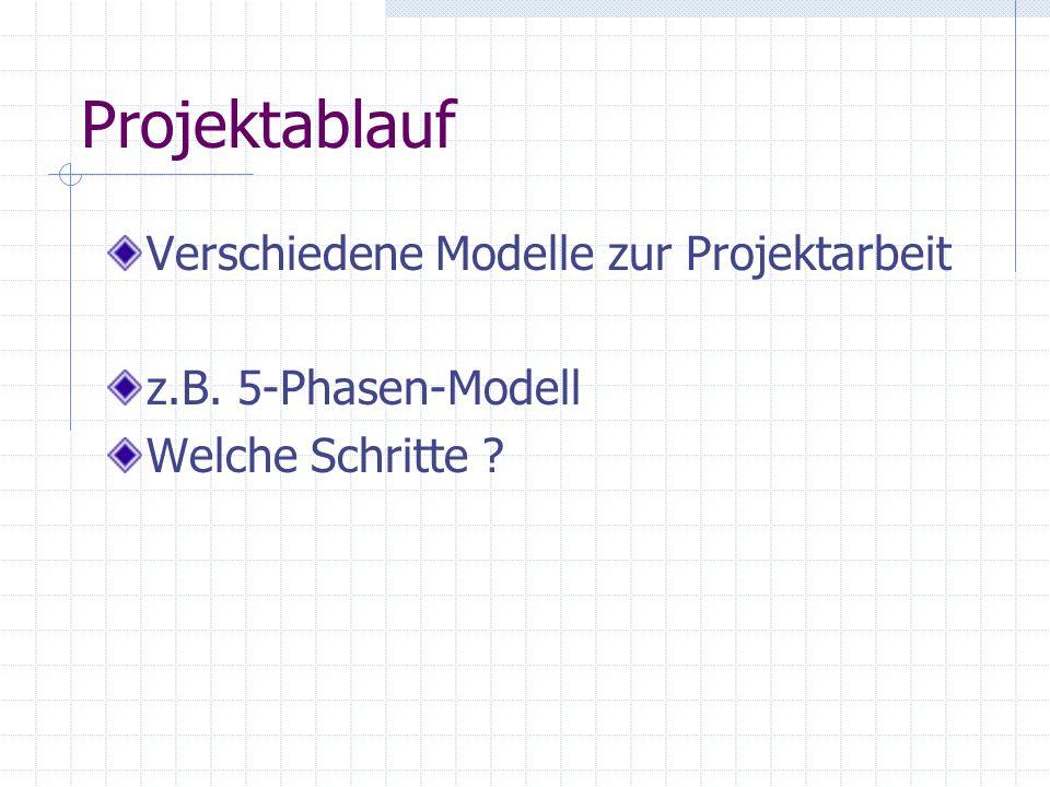 Projektablauf Verschiedene Modelle zur Projektarbeit