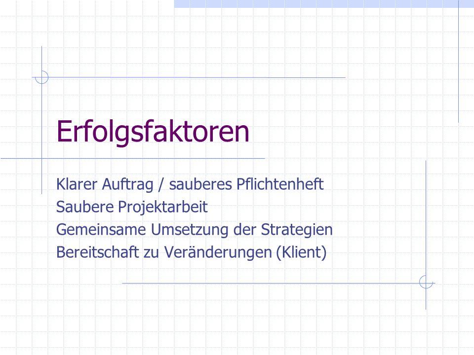 Erfolgsfaktoren Klarer Auftrag / sauberes Pflichtenheft