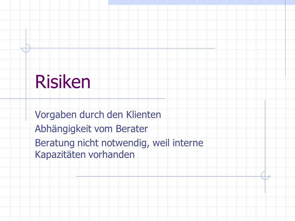 Risiken Vorgaben durch den Klienten Abhängigkeit vom Berater