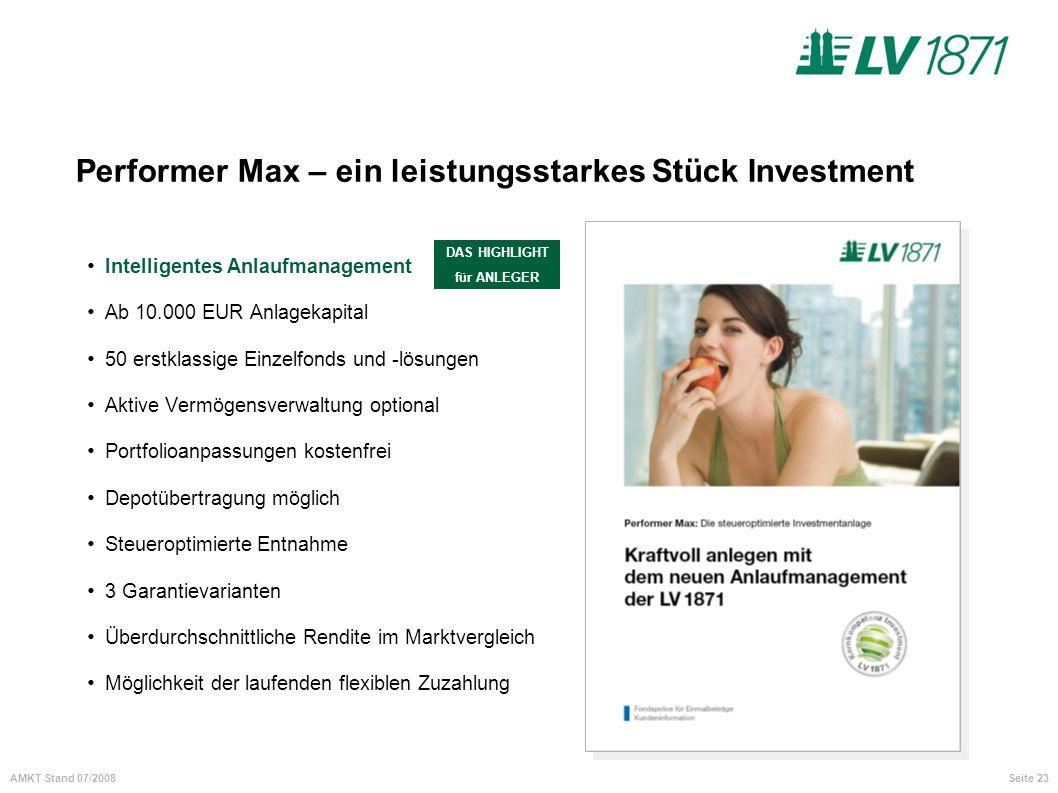 Performer Max – ein leistungsstarkes Stück Investment