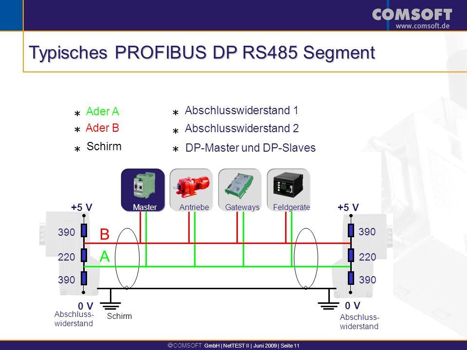 Typisches PROFIBUS DP RS485 Segment