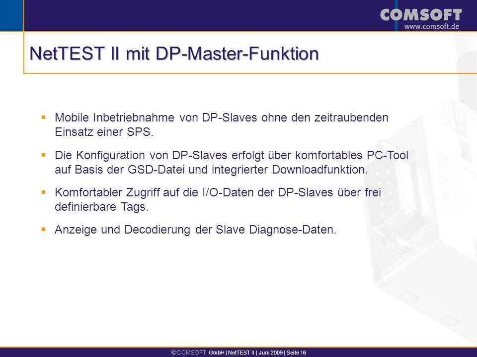 NetTEST II mit DP-Master-Funktion