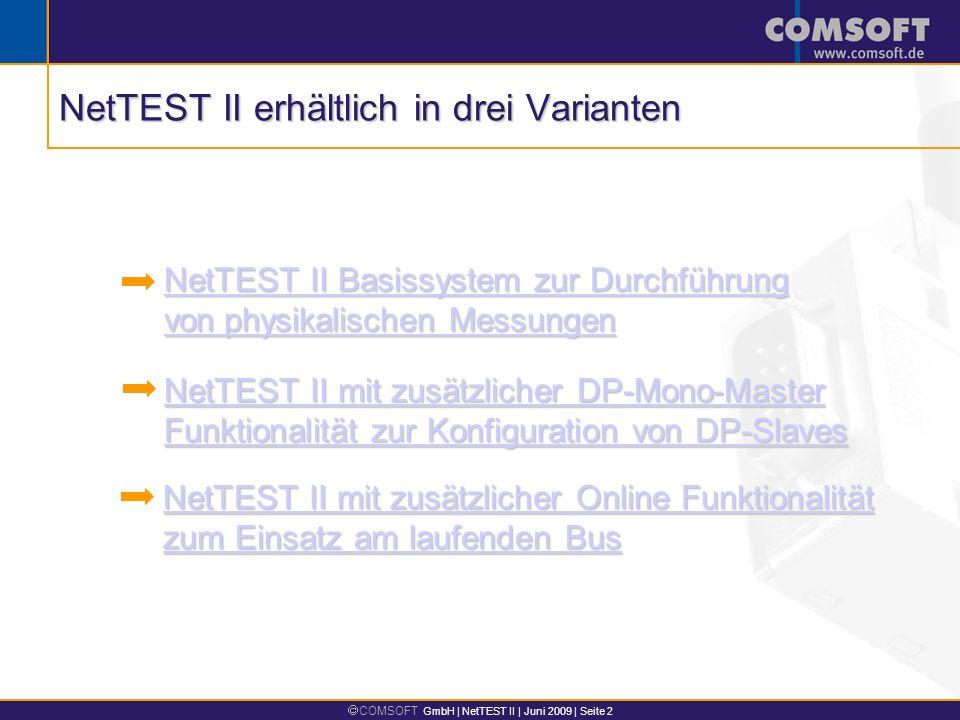 NetTEST II erhältlich in drei Varianten