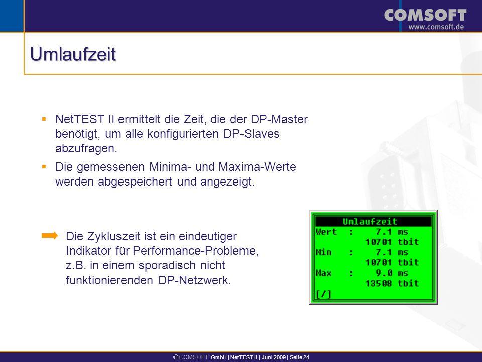 Umlaufzeit NetTEST II ermittelt die Zeit, die der DP-Master benötigt, um alle konfigurierten DP-Slaves abzufragen.