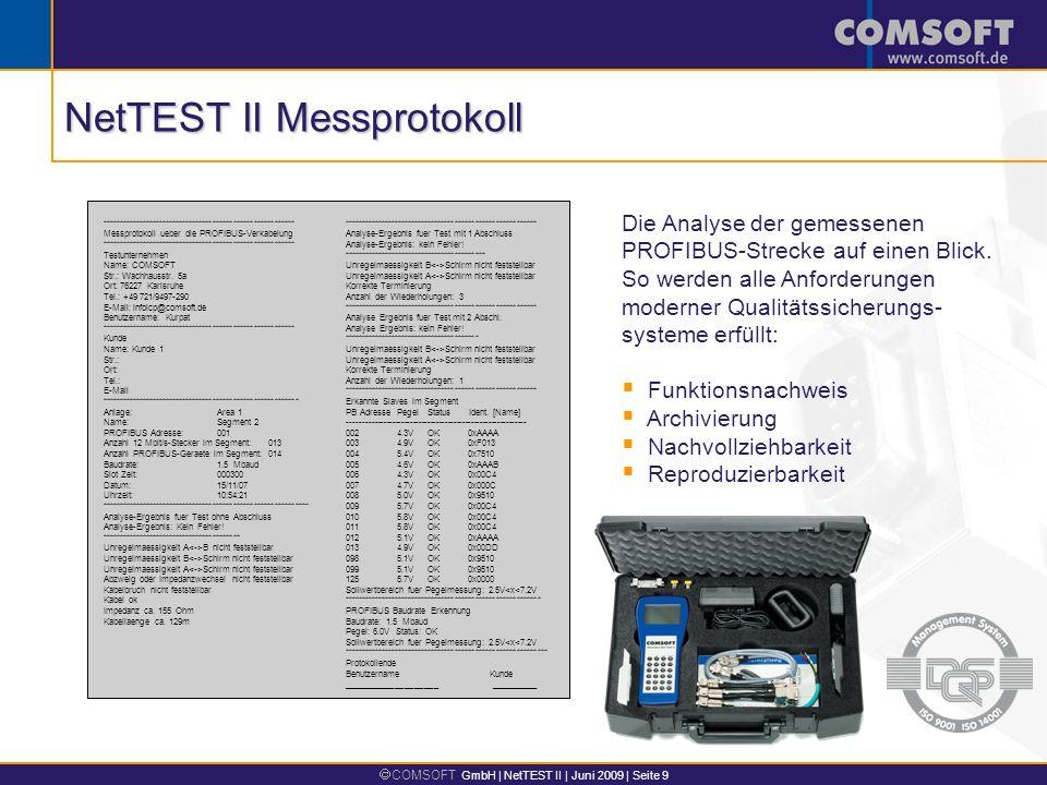NetTEST II Messprotokoll