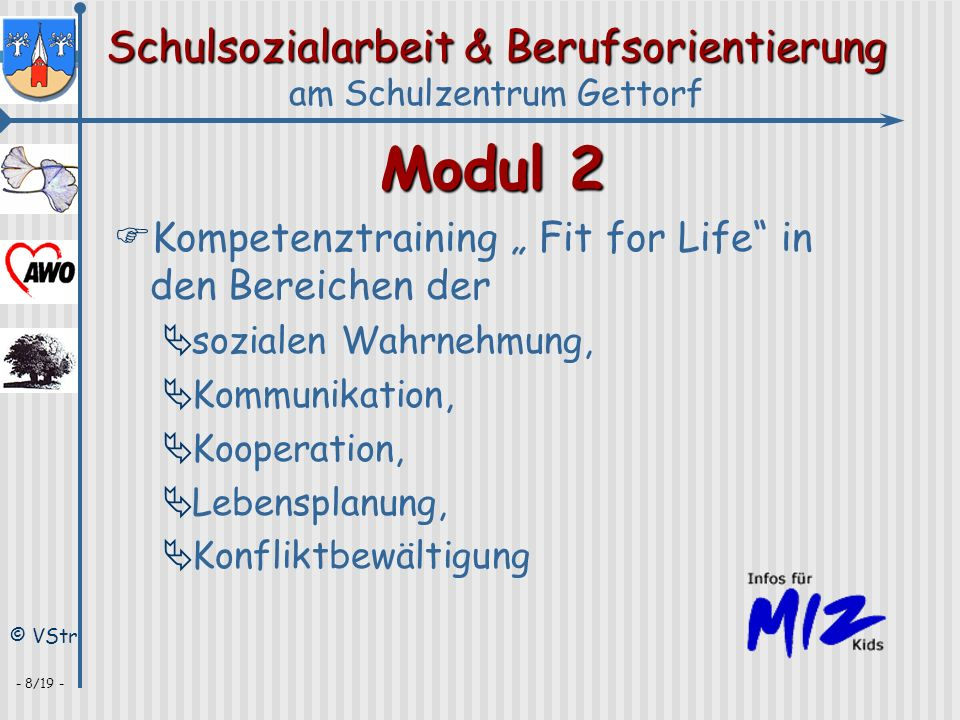 "Modul 2 Kompetenztraining "" Fit for Life in den Bereichen der"