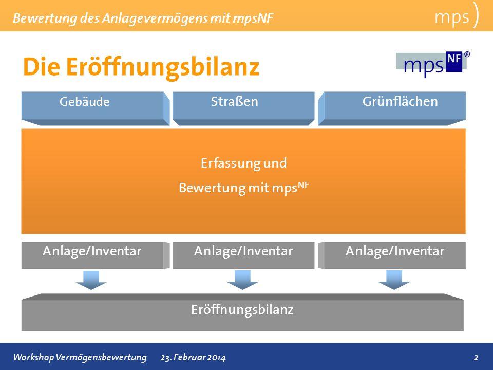 Die Eröffnungsbilanz mps ) Bewertung des Anlagevermögens mit mpsNF