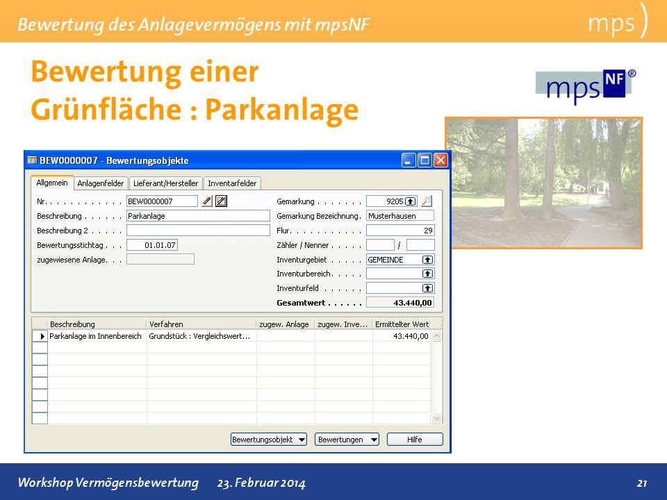 Bewertung einer Grünfläche : Parkanlage