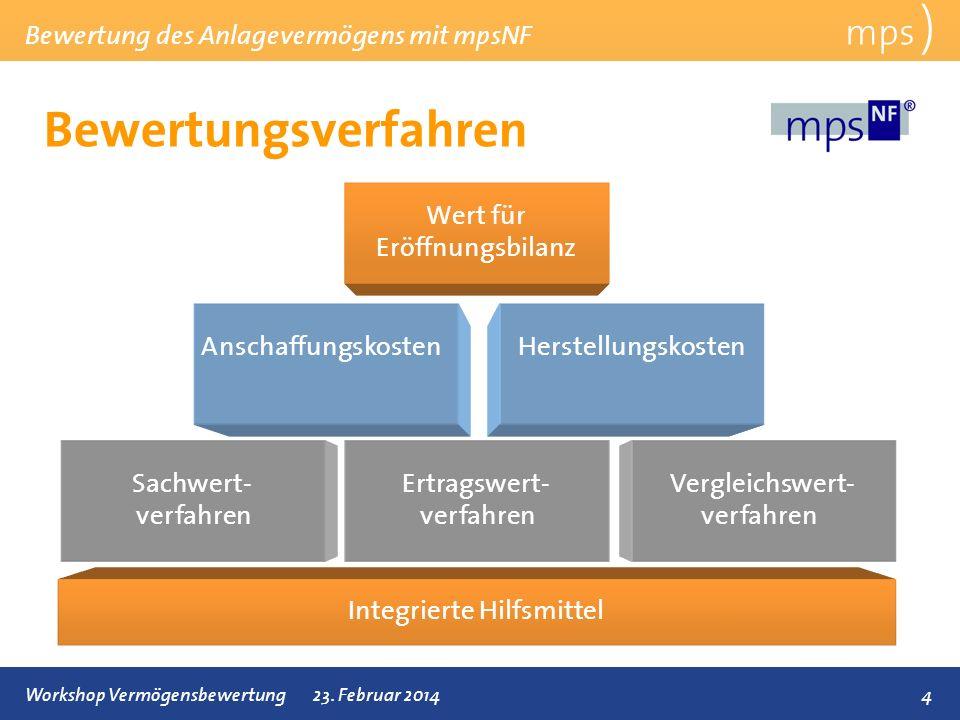 Bewertungsverfahren mps ) Wert für Eröffnungsbilanz Anschaffungskosten