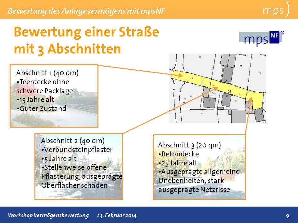 Bewertung einer Straße mit 3 Abschnitten