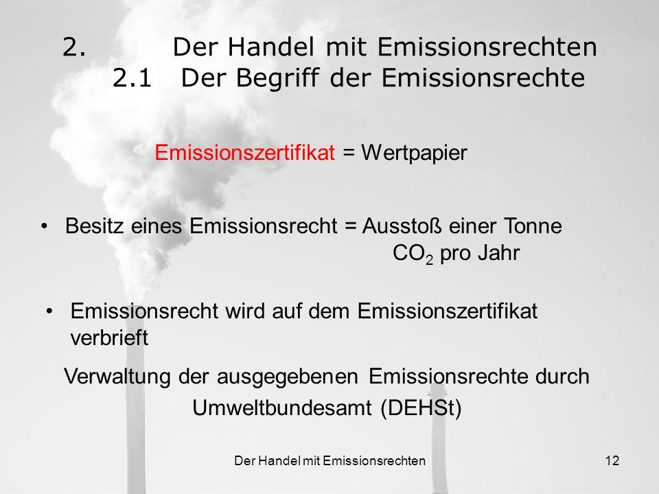 Der Handel mit Emissionsrechten 2.1 Der Begriff der Emissionsrechte