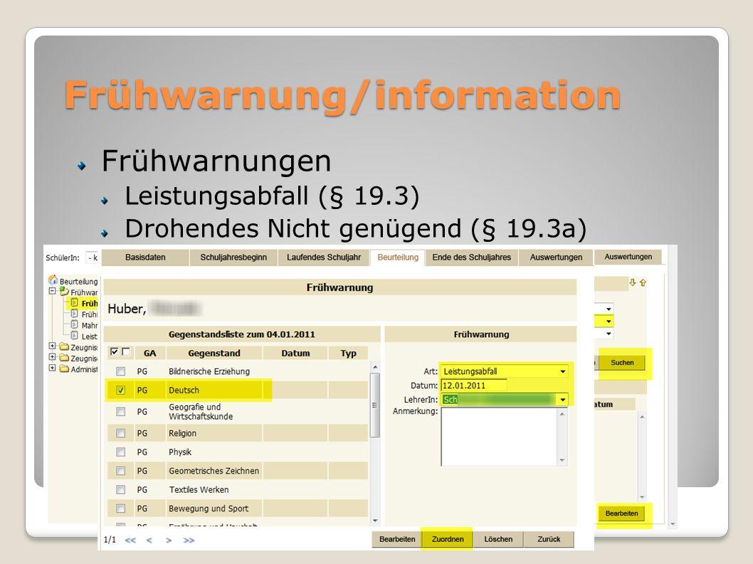 Frühwarnung/information