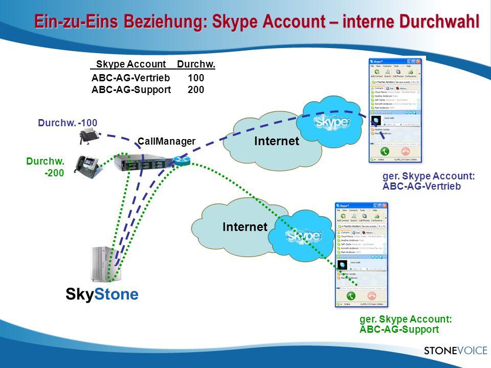 Ein-zu-Eins Beziehung: Skype Account – interne Durchwahl