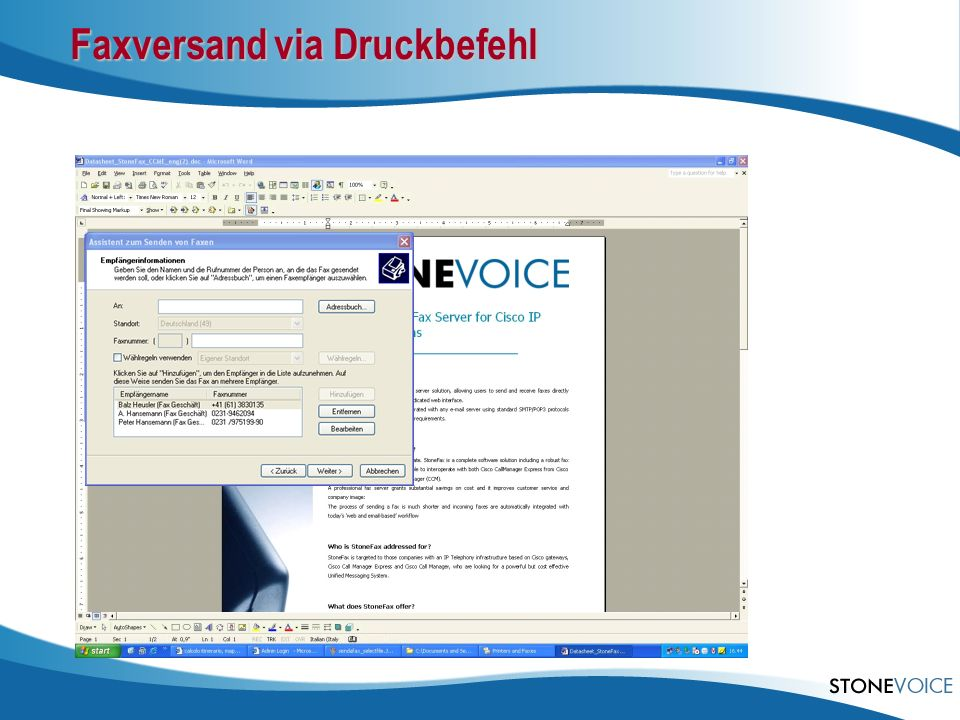 Faxversand via Druckbefehl
