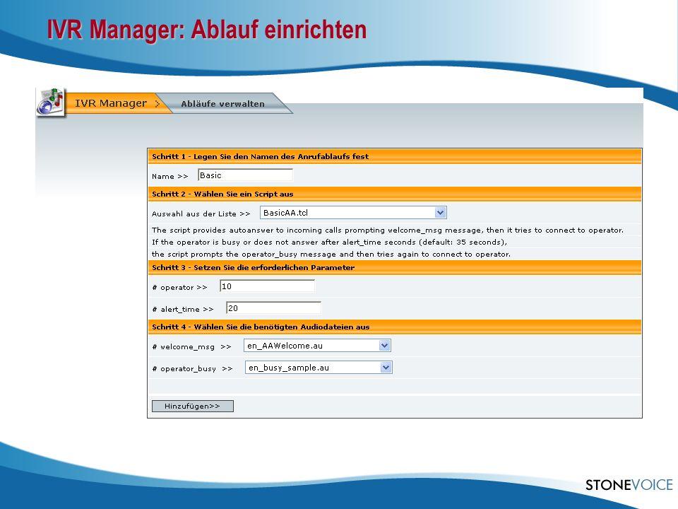 IVR Manager: Ablauf einrichten