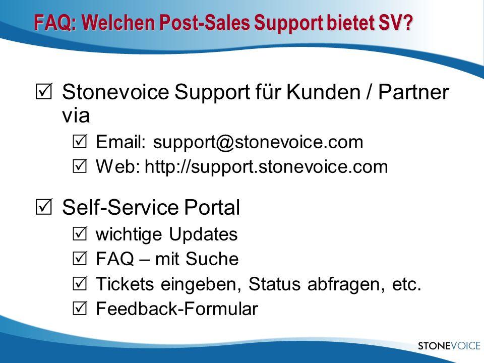 FAQ: Welchen Post-Sales Support bietet SV