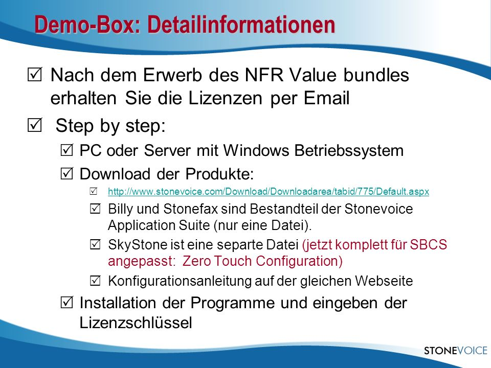 Demo-Box: Detailinformationen