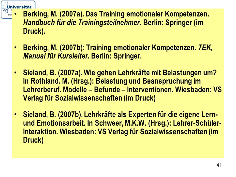 Berking, M. (2007a). Das Training emotionaler Kompetenzen