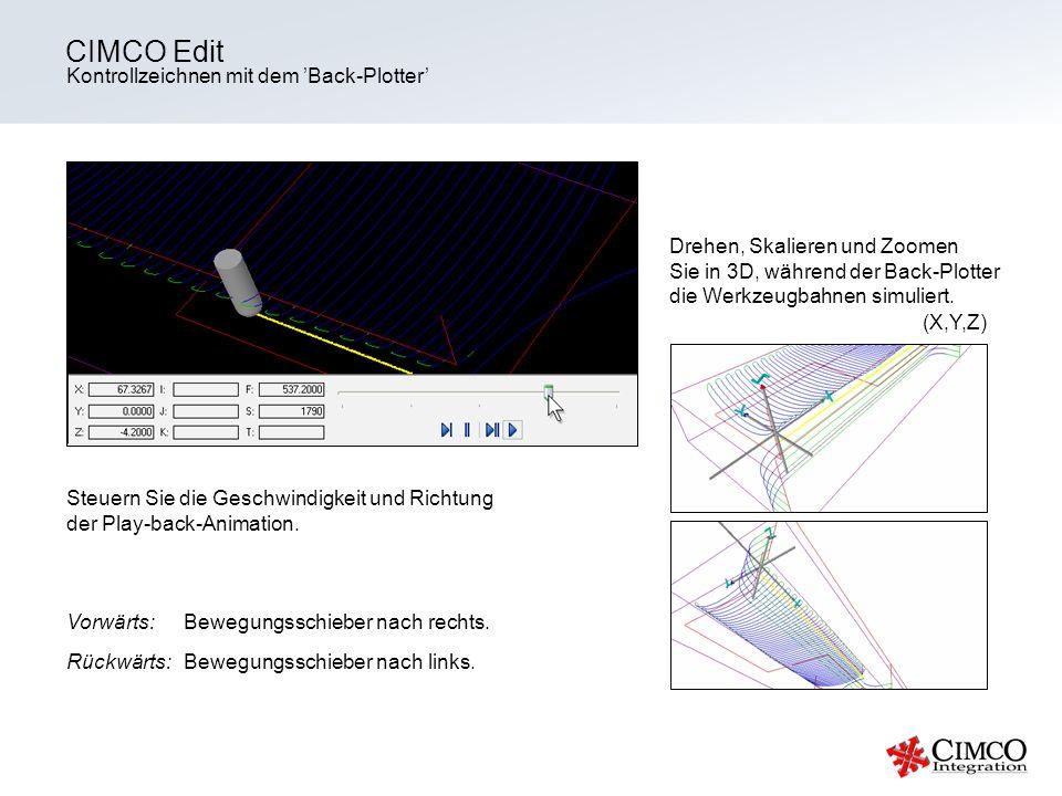CIMCO Edit Kontrollzeichnen mit dem 'Back-Plotter'