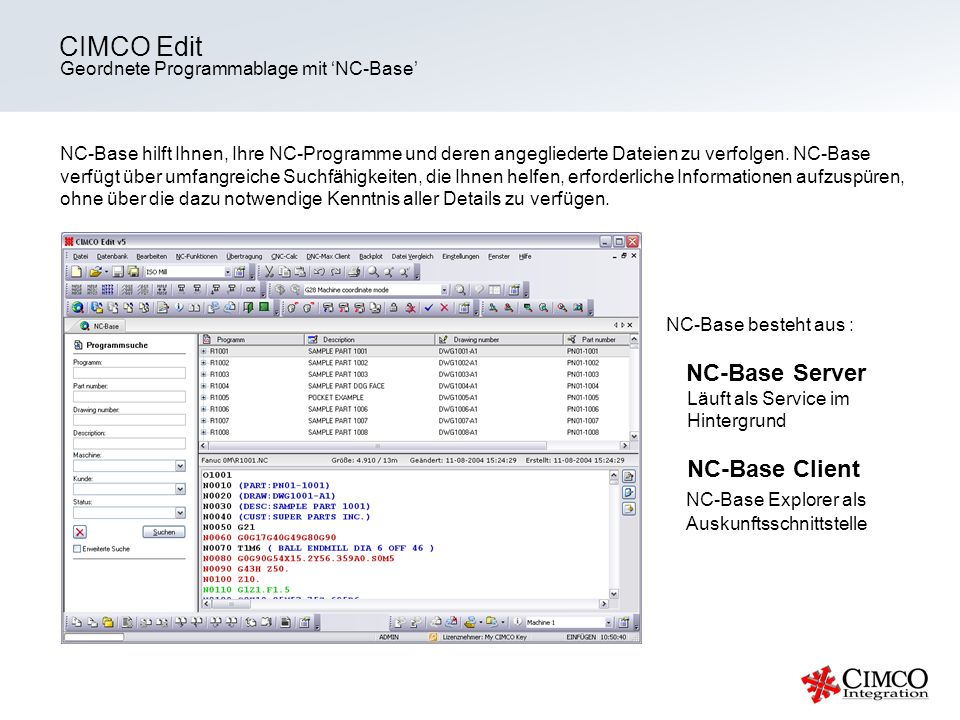 CIMCO Edit NC-Base Server NC-Base Explorer als