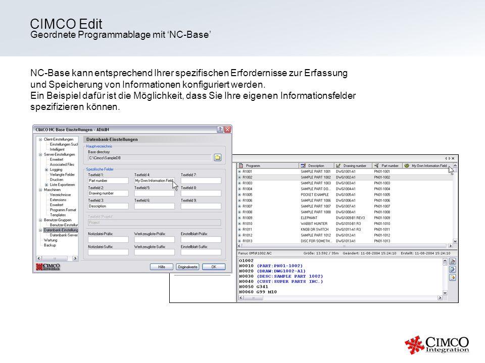 CIMCO Edit Geordnete Programmablage mit 'NC-Base'