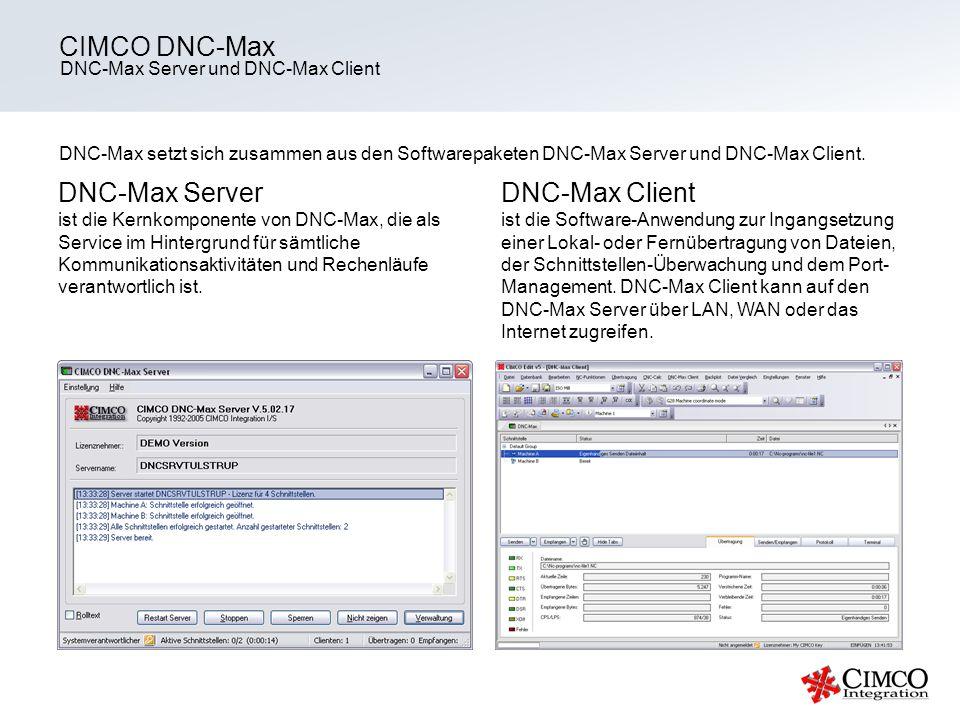 CIMCO DNC-Max DNC-Max Server DNC-Max Client