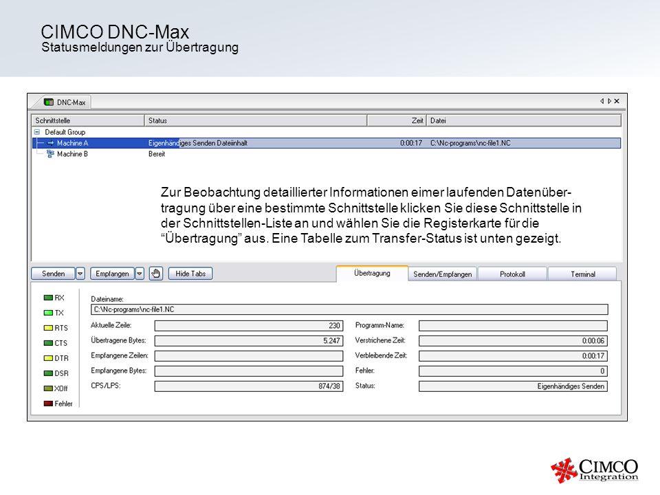 CIMCO DNC-Max Statusmeldungen zur Übertragung