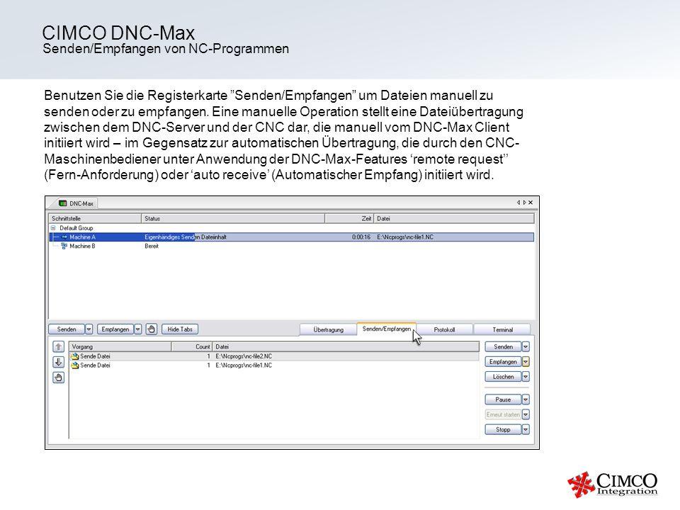 CIMCO DNC-Max Senden/Empfangen von NC-Programmen