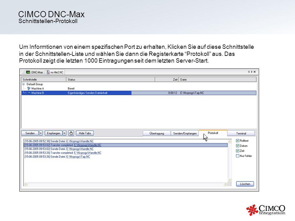 CIMCO DNC-Max Schnittstellen-Protokoll
