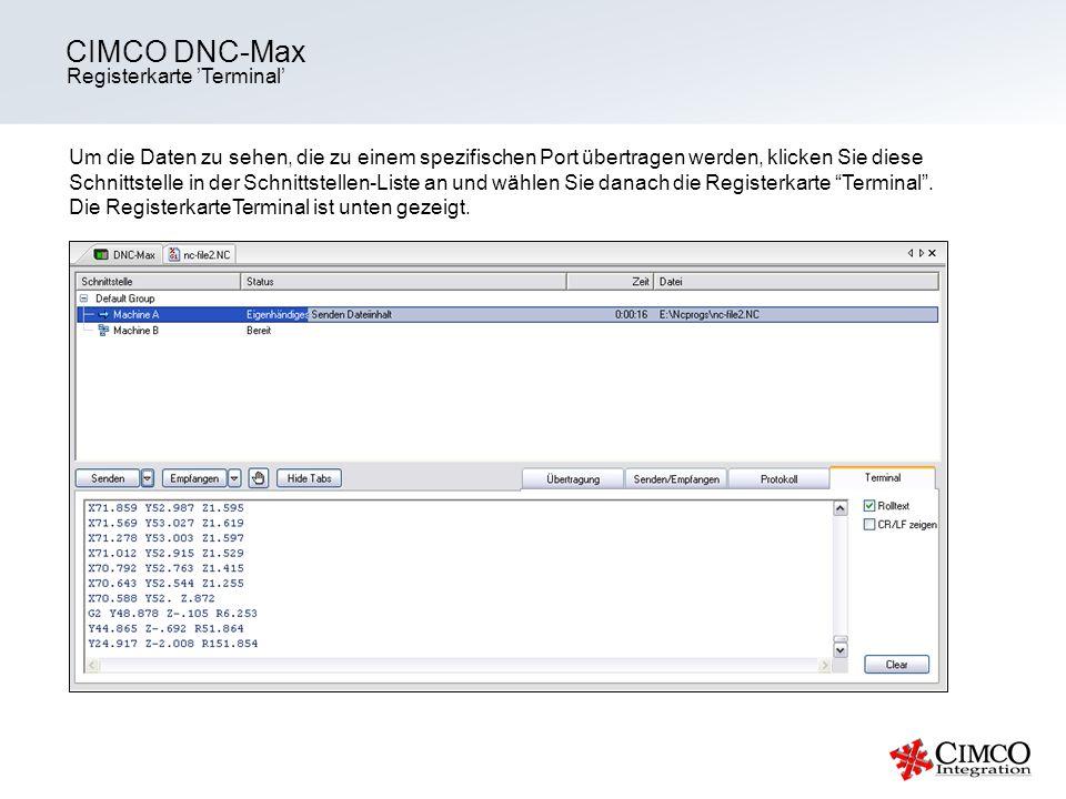 CIMCO DNC-Max Registerkarte 'Terminal'
