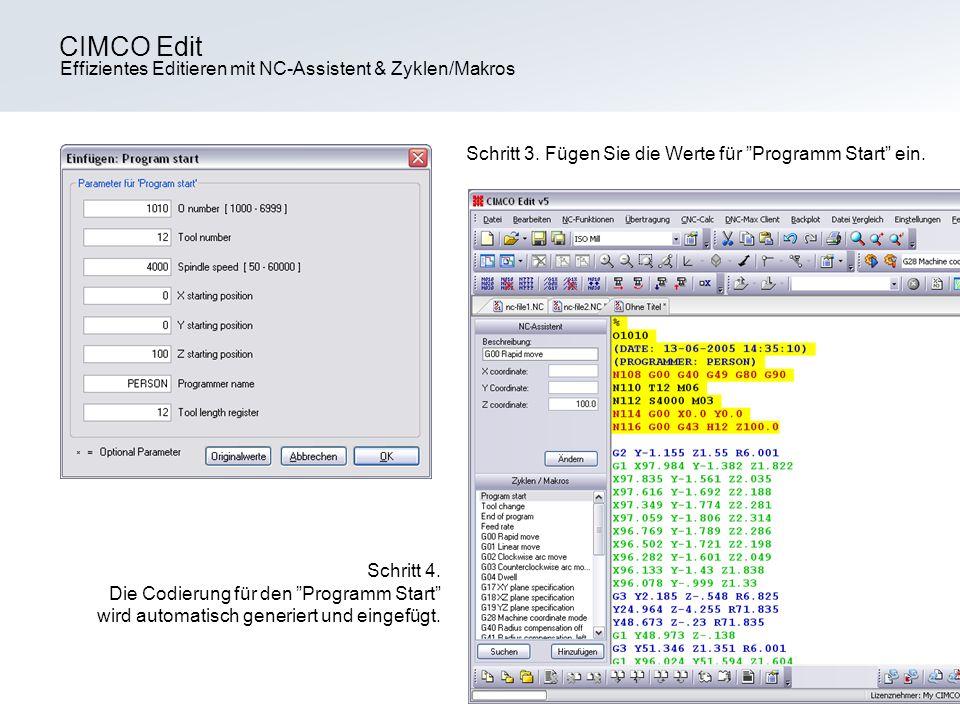 CIMCO Edit Effizientes Editieren mit NC-Assistent & Zyklen/Makros