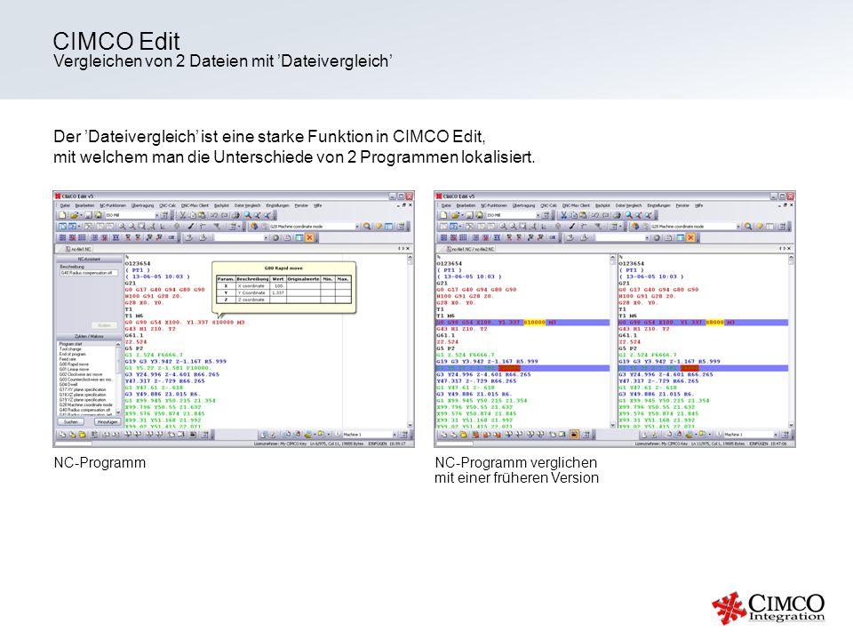CIMCO Edit Vergleichen von 2 Dateien mit 'Dateivergleich'