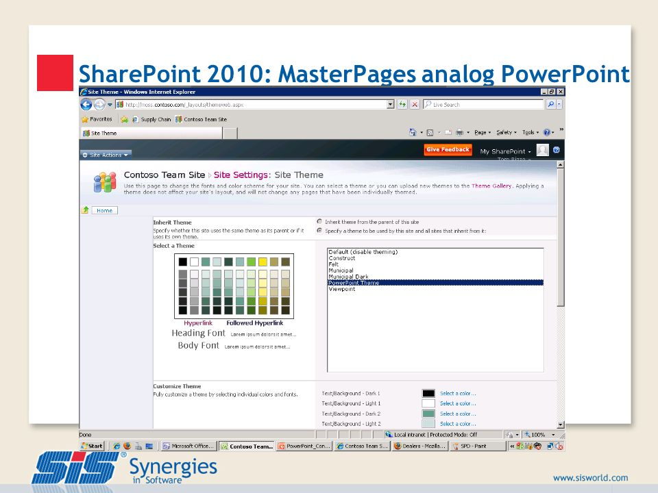 SharePoint 2010: MasterPages analog PowerPoint