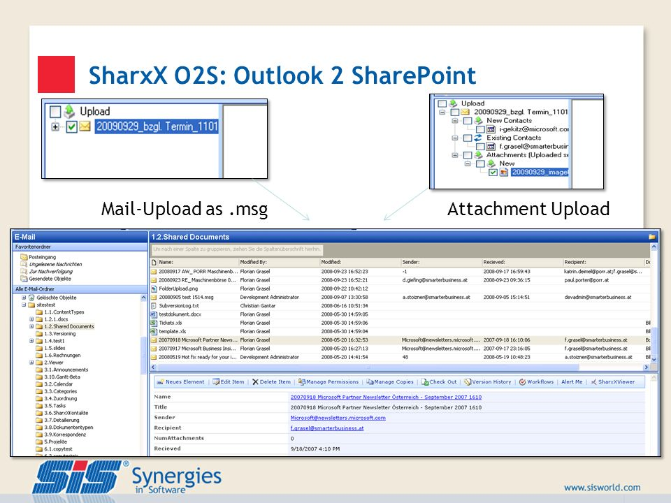 SharxX O2S: Outlook 2 SharePoint
