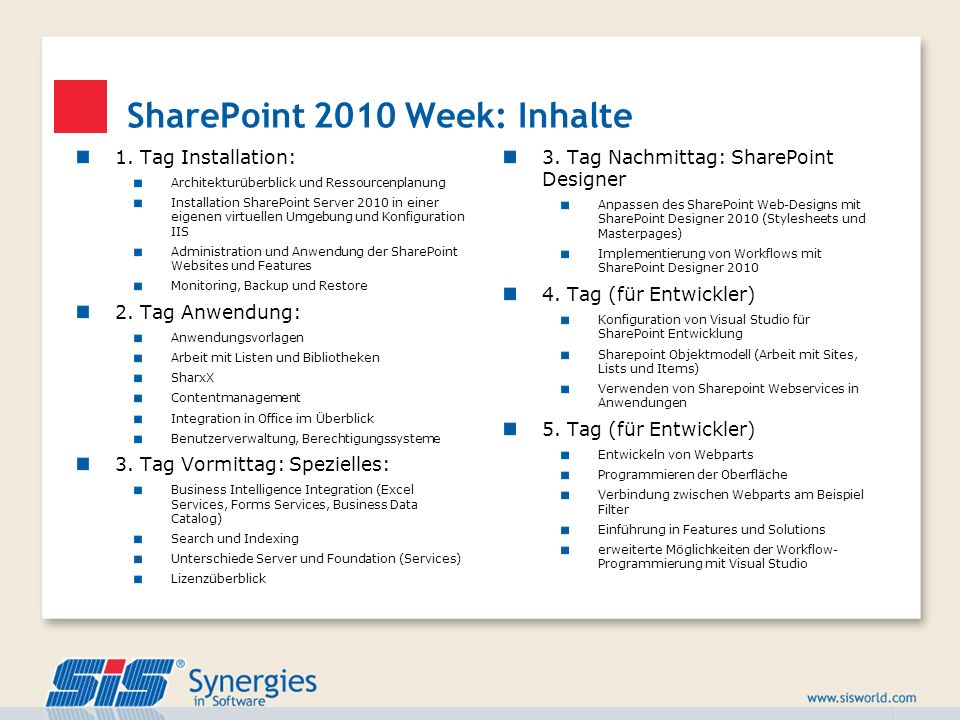 SharePoint 2010 Week: Inhalte