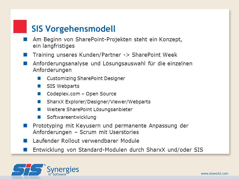 SIS VorgehensmodellAm Beginn von SharePoint-Projekten steht ein Konzept, ein langfristiges. Training unseres Kunden/Partner -> SharePoint Week.