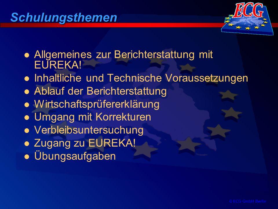 Schulungsthemen Allgemeines zur Berichterstattung mit EUREKA!