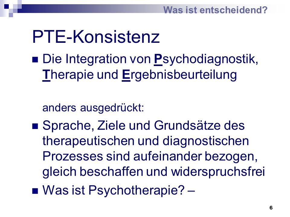 Was ist entscheidend PTE-Konsistenz. Die Integration von Psychodiagnostik, Therapie und Ergebnisbeurteilung.