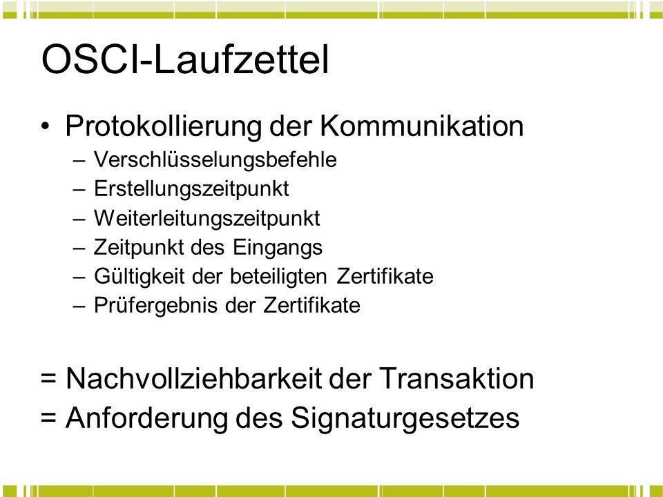 OSCI-Laufzettel Protokollierung der Kommunikation
