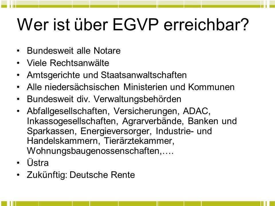 Wer ist über EGVP erreichbar