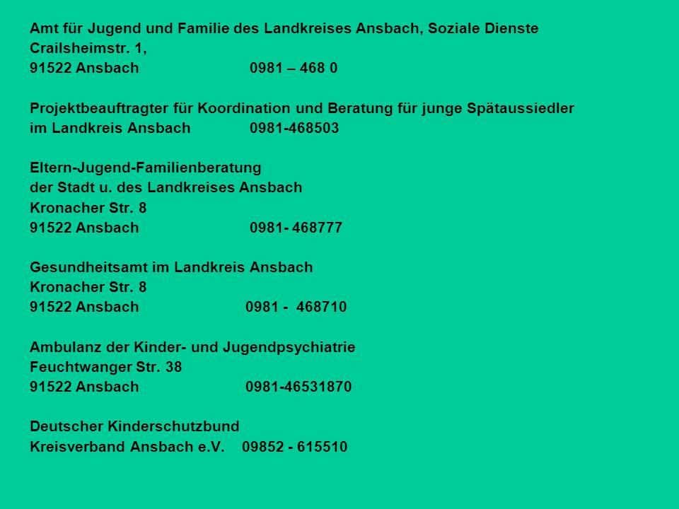 Amt für Jugend und Familie des Landkreises Ansbach, Soziale Dienste