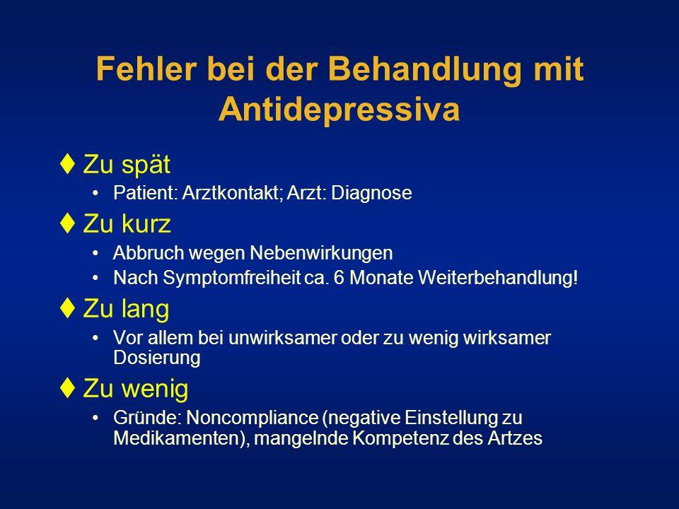 Fehler bei der Behandlung mit Antidepressiva