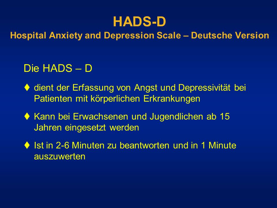 HADS-D Hospital Anxiety and Depression Scale – Deutsche Version